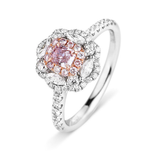 18kt White and Rose Gold Radiant Center Fancy Halo Pink Diamond Ring