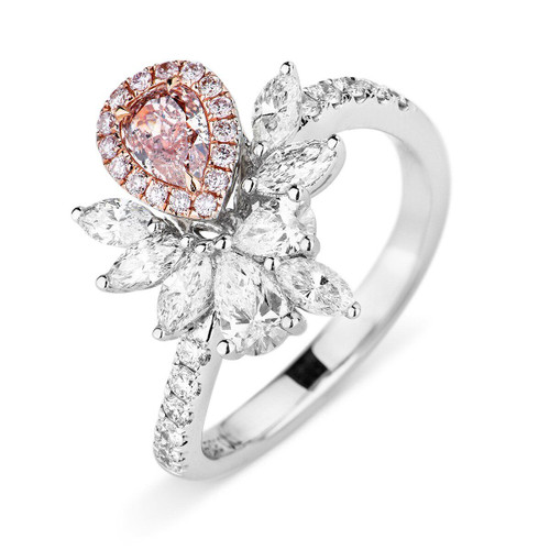 18kt White and Rose Gold Fancy Cluster Pink Diamonds ring