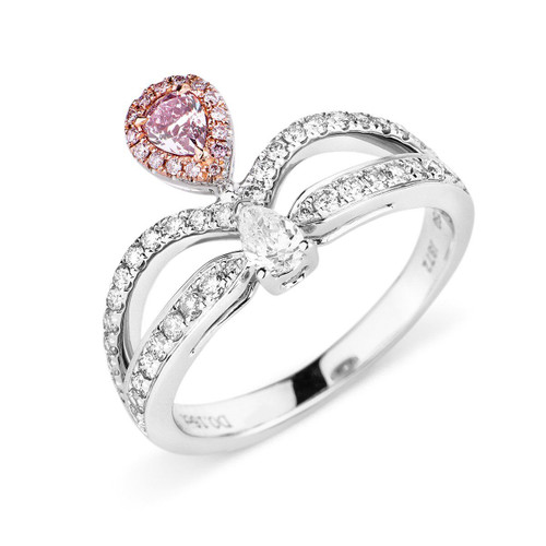 18kt White and Rose Gold Pear Shaped Pink Diamond Crown Ring