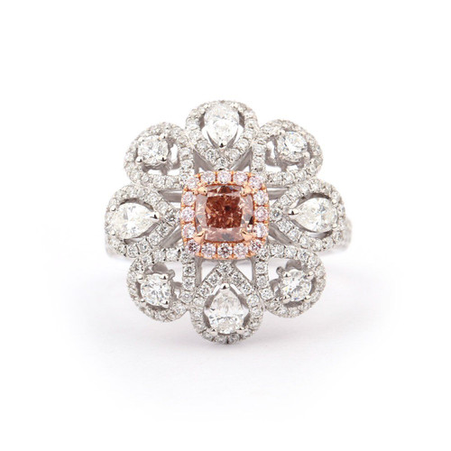 18kt White and Rose Gold Fancy Lattice Halo Pink Diamond Ring