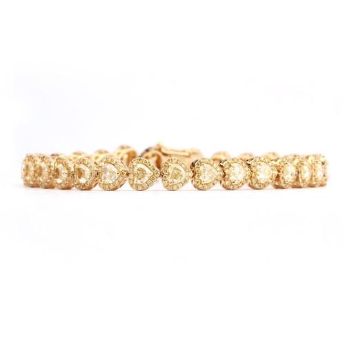 18kt Yellow Gold Heart Shaped Halo Yellow Diamond Bracelet
