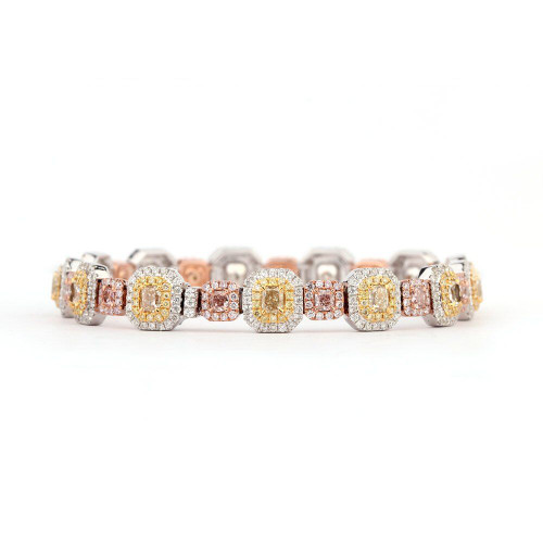18kt Gold Natural Fancy Yellow and Pink Diamond Fashion Bracelet