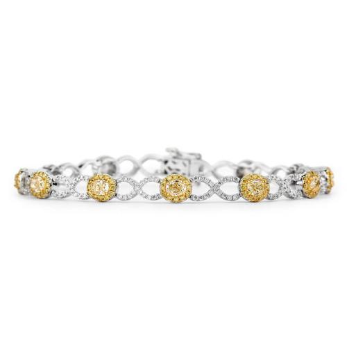 18Kt White and Yellow Gold Yellow Diamond Infinity Link Bracelet