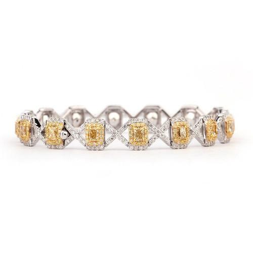 "18kt White and Yellow Gold ""X"" Link Yellow Diamond Bracelet"