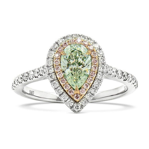 18kt White and Rose Gold Double Halo Pear Green Diamond Ring