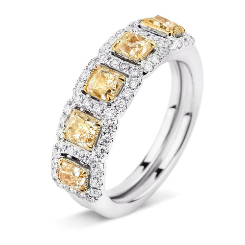 18kt White and Yellow Gold 5-Stone Yellow Diamond Halo Band