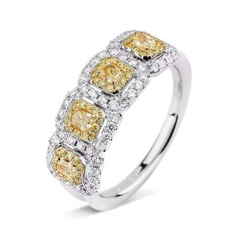 18kt White and Yellow Gold 4-Stone Double Halo Yellow Diamond Ring