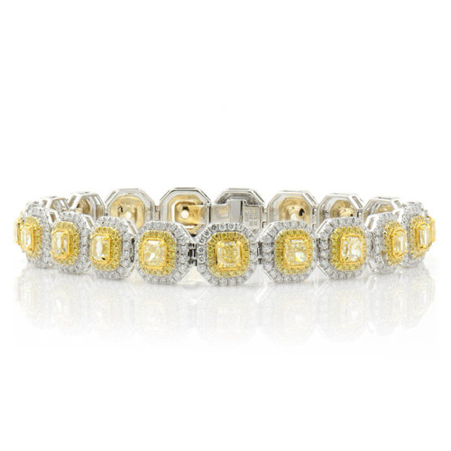 White and Yellow Gold Double Halo Yellow Radiant Diamond Bracelet