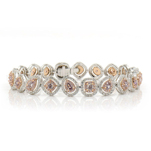 18kt White and Yellow Gold Multi-Fancy Shape Pink Diamond Halo Bracelet