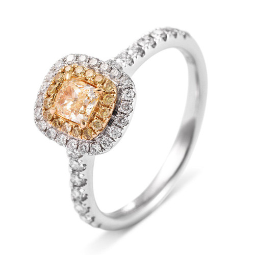 18kt White and Yellow Gold Double Halo Cushion Yellow Diamond Ring