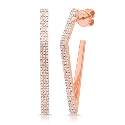 14kt Gold Multi-Row Diamond Angular J-Hoops