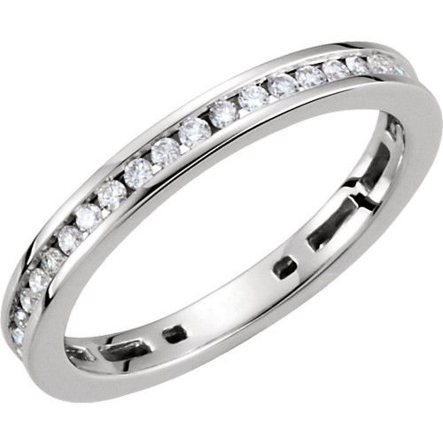 14kt Gold Channel Diamond Stackable Ring