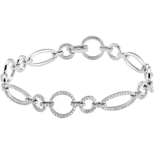14kt White Gold Diamond Fashion Chain Bracelet