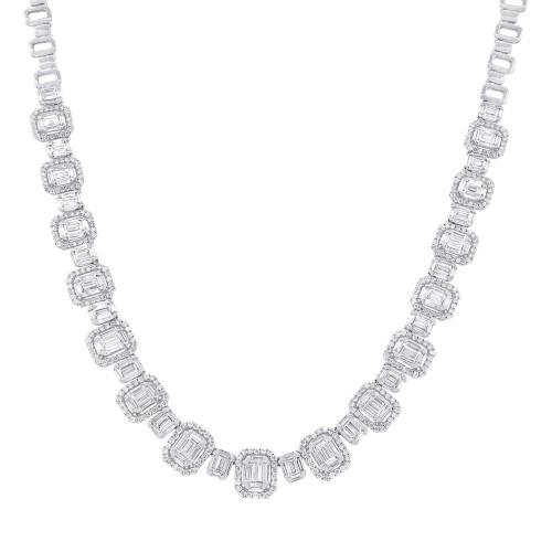 18kt White Gold Baguette Cluster Fashion Necklace
