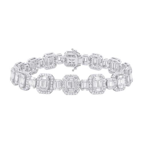 18kt White Gold Baguette Cluster Fashion Bracelet
