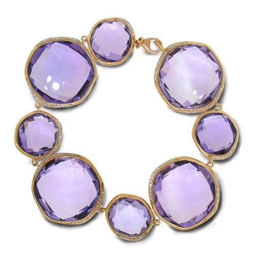 14kt Rose Gold Rose Cut Amethyst Fashion Bracelet