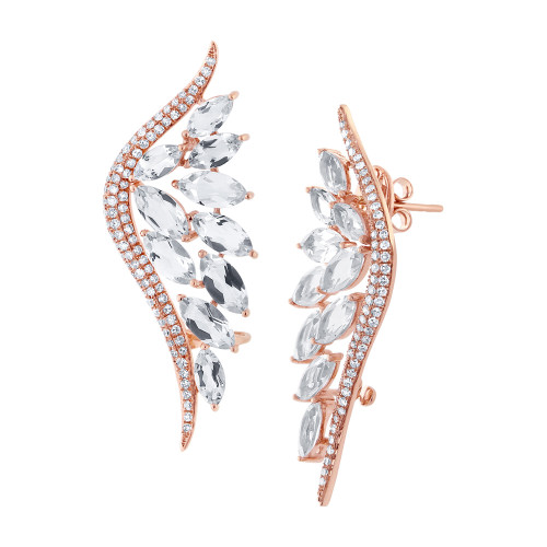 14kt Rose Gold White Topaz Climber Earrings
