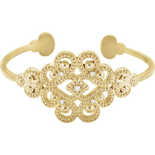 14kt Yellow Gold Filigree Milgrain Cuff Bracelet