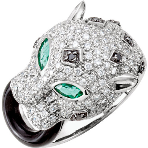 14kt White Gold Panther Head ring