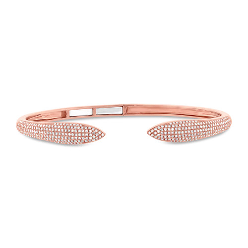 14kt Gold Pave Claw Hinged Cuff Bracelet