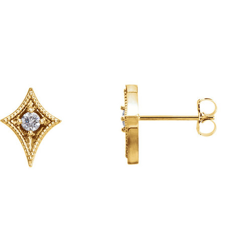 14kt Gold North Star Solitaire Earrings