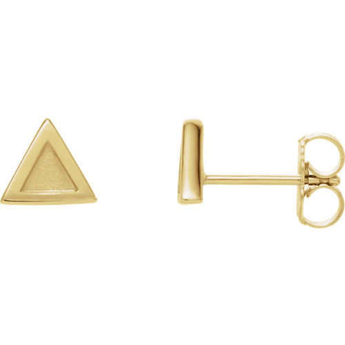 14kt Gold Triangle Geometric Stud