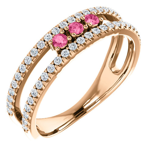 14kt Gold Pink Tourmaline Multi-Row Stackable Ring
