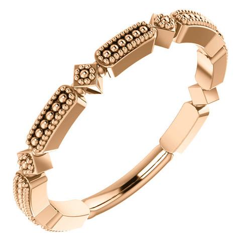 14kt Gold Milgrain Stackable Ring