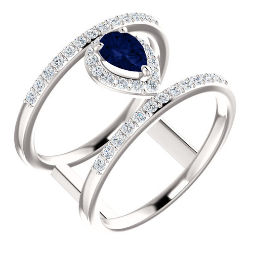 14kt Gold Negative Space Sapphire Ring