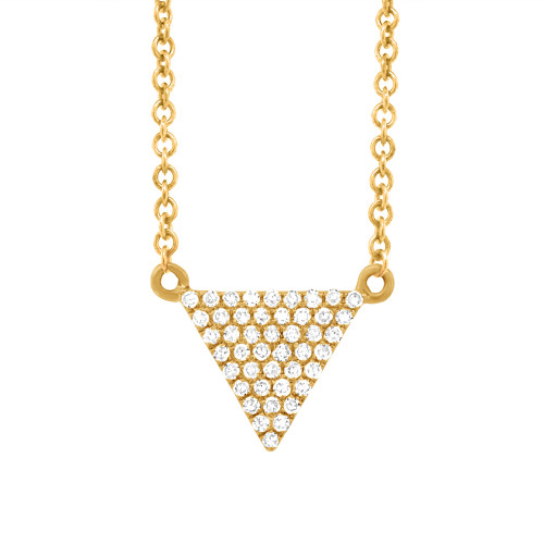 14kt Gold Pave Triangle Necklace