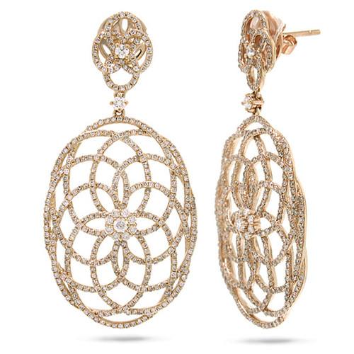 14kt Gold Diamond Swirl Lace Earrings