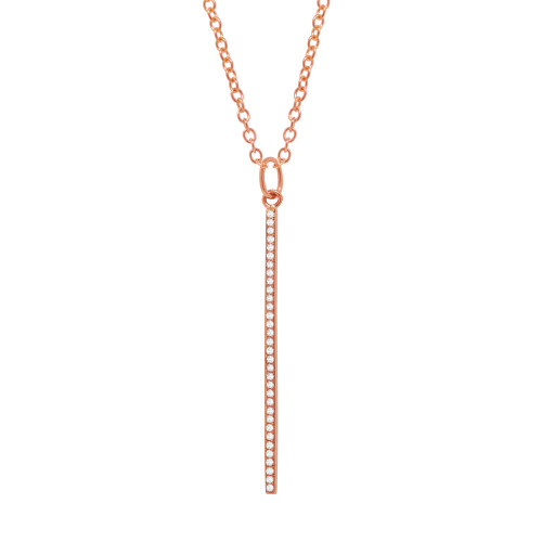 14kt Rose Gold Diamond Drop Bar Necklace