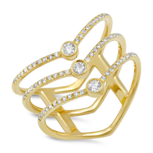 14kt Yellow Gold Multi-Chevron Diamond Ring