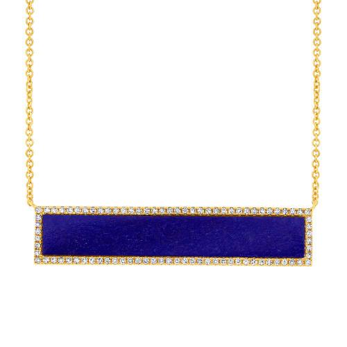 14kt Gold Lapis Long Bar Necklace