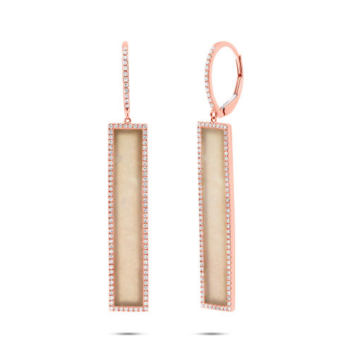 14kt Rose Gold Pink Opal Long Bar Earrings