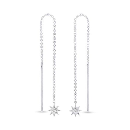 14kt White Gold Star Threader Earrings