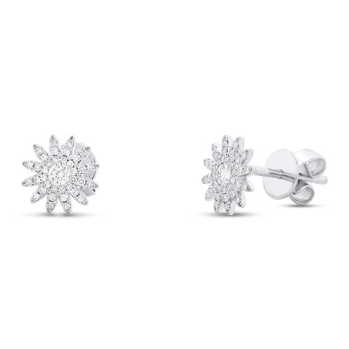 14kt Gold Sunburst Diamond Stud Earrings