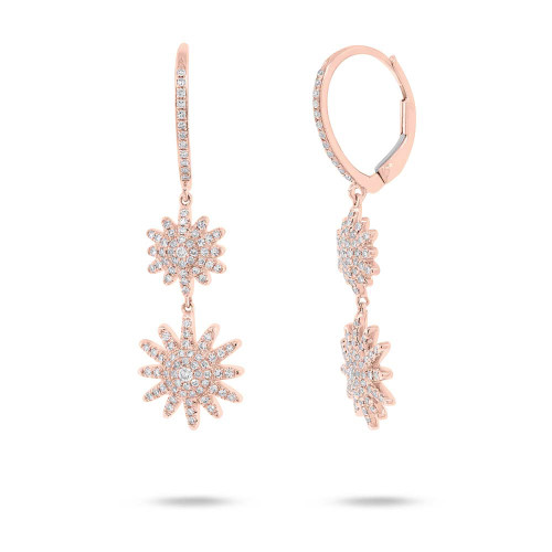 14kt Gold Double Sunburst Drop Earrings