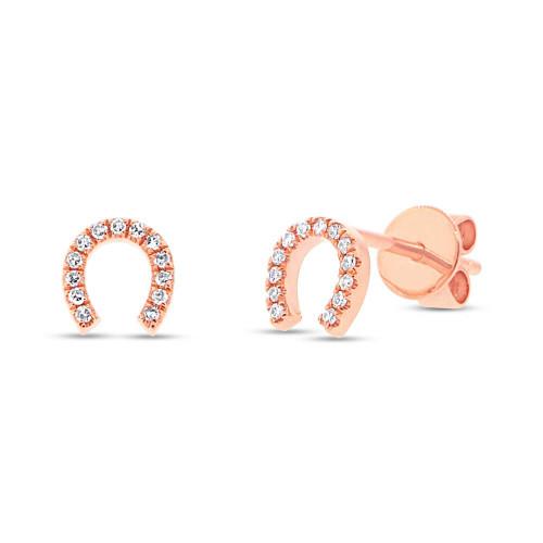 14kt Gold Diamond Horseshoe Earrings