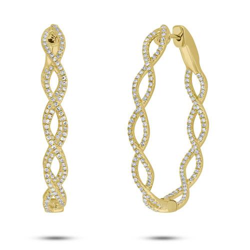 14kt Yellow Gold Diamond Twist Hoop Earrings