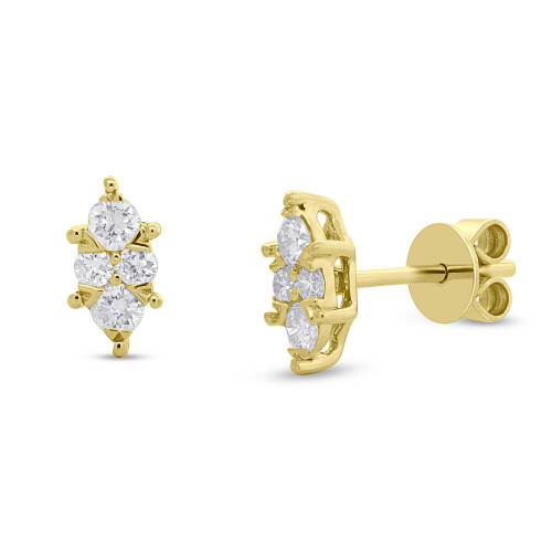 14kt Gold Marquise Cluster Earrings