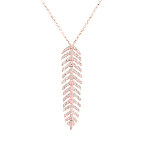 14kt Gold Feather Dangle Pendant