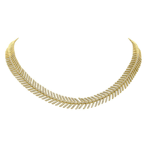 14kt Yellow Gold Feather Necklace