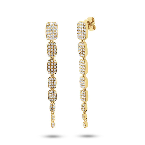 14kt Gold Pave Tapered Drop Earrings