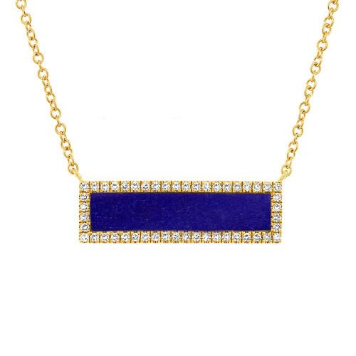 14kt Yellow Gold Lapis Bar Necklace
