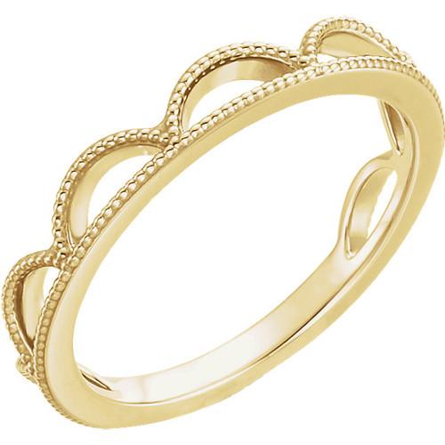 14kt Gold Scalloped Milgrain Stackable Ring