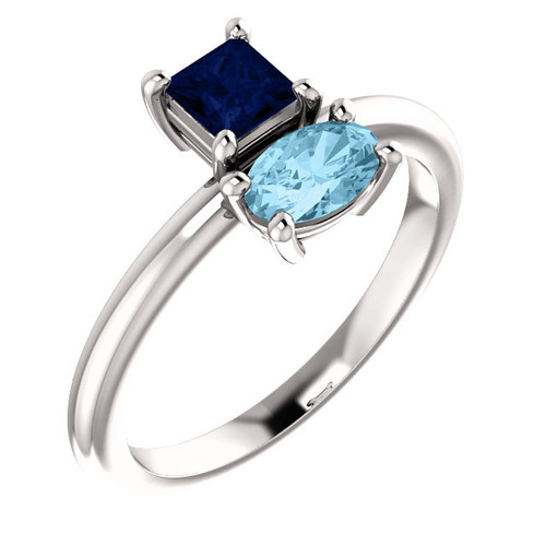 14kt Gold Blue 2-Stone Ring