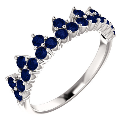 14kt Gold Blue Sapphire Cluster Stack Ring