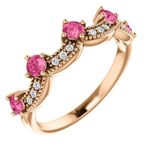 Rose Gold-Pink Tourmaline-Crown Ring-Fashion Rings-chicago