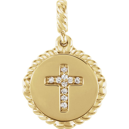 14kt Gold Diamond Cross Disc Pendant
